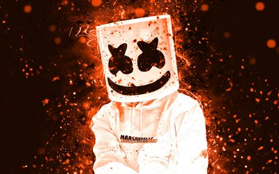 4k, DJ Marshmello, orange neon lights, Christopher Comstock, american DJ, music stars, Marshmello 4K, orange abstract backgrounds, superstars, Marshmello, DJs