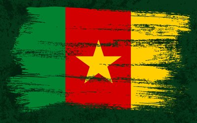 4k, Flag of Cameroon, grunge flags, African countries, national symbols, brush stroke, Cameroonian flag, grunge art, Cameroon flag, Africa, Cameroon
