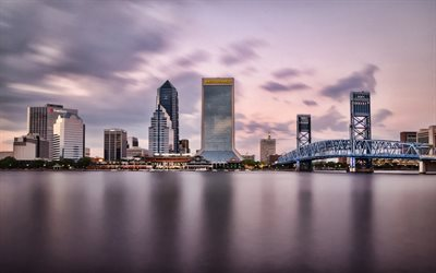 Jacksonville, Florida, Wells Fargo Center, Bank of America Tower, Barnett Center, Jacksonville Skyline, sera, tramonto, paesaggio urbano di Jacksonville, USA