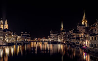 Zurich, night, Grossmunster, Fraumunster, chapel, Zurich cityscape, Switzerland