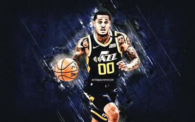 Jordan Clarkson, Utah Jazz, NBA, American basketball player, blue stone background, USA, basketball
