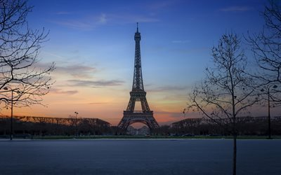 France, Paris, sunset, Eiffel Tower, park