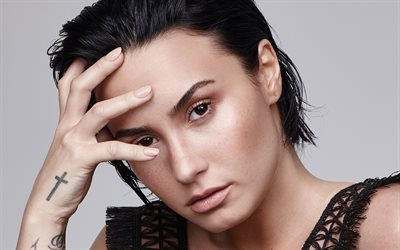 Demi Lovato, American singer, brunette, portrait, make-up