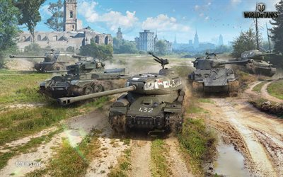 World of Tanks, tanks, WoT, T-34-85 Rudy, M4A3E8 Thunderbolt VII, ISU-122C