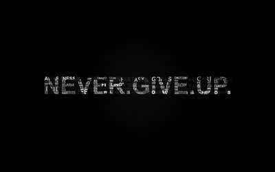 Never Give Up, black background, typography, quotes