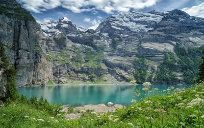 Mountain lake, spring, Svitzerland, Bernese Alps, Oeschinen Lake, Bernese Oberland, Oeschinensee