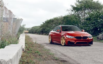 BMW M4, stance, Velos Wheels, tuning, red m4, F82, BMW