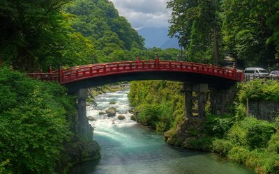 mountain landscape, gorge, mountain river, Japanese bridge, Japan, beautiful nature