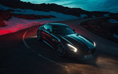 4k, Mercedes-AMG GT C, supercars, 2018 cars, night, Mercedes