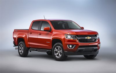 Chevrolet Colorado ZR2, 2019, 4k, exterior, red pickup, American cars, new red Colorado, Chevy