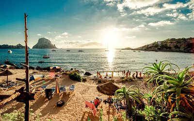 Ibiza, 4k, beach, sea, summer vacation, Spain, Europe