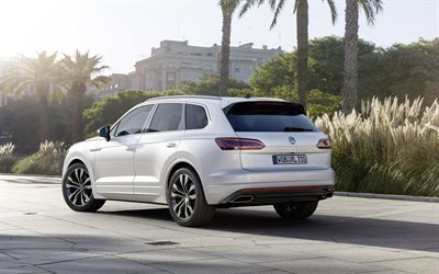 Volkswagen Touareg, 2019, 4k, rear view, exterior, luxury SUV, new white Touareg, German cars, Volkswagen