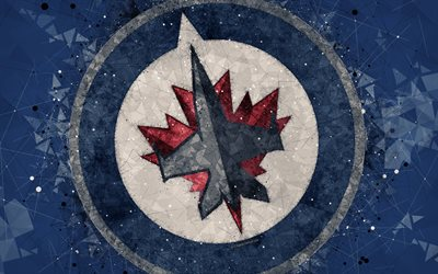 Winnipeg Jets, 4k, Canadian hockey club, creative art, logo, creative geometric art, emblem, NHL, gray abstract background, Winnipeg, Manitoba, Canada, USA, hockey, National Hockey League