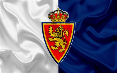 Real Zaragoza, 4k, silk texture, Spanish football club, logo, emblem, blue white flag, Segunda, Division B, LaLiga2, Zaragoza, Spain, football
