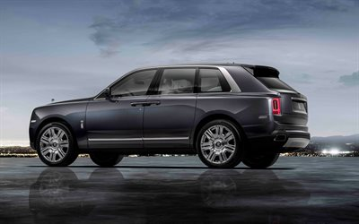 Rolls-Royce Cullinan, 2019, 4k, luxury gray SUV, exterior, rear view, British SUV, Rolls-Royce