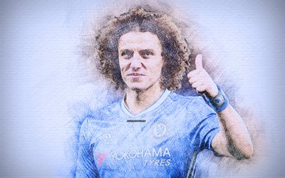 David Luiz, 4k, artwork, football stars, Chelsea, soccer, Premier League, footballers, drawing David Luiz, FC Chelsea