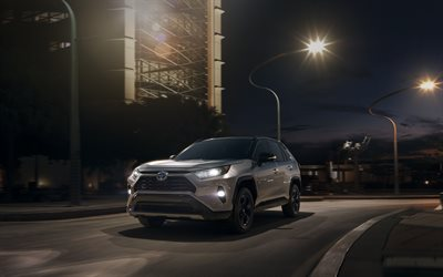 4k, Toyota RAV4, street, 2019 cars, headlights, crossovers, new RAV4, Toyota