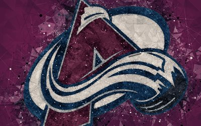 Colorado Avalanche, 4k, American hockey club, creative art, logo, creative geometric art, emblem, NHL, purple abstract background, Denver, Colorado, USA, hockey, National Hockey League