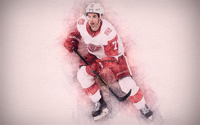 Dylan Larkin, 4k, artwork, hockey stars, Detroit Red Wings, Larkin, NHL, hockey, drawing Dylan Larkin