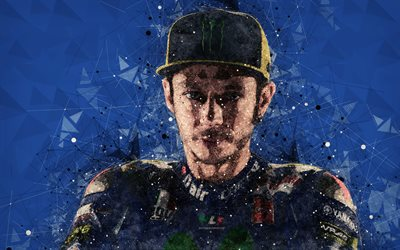 Valentino Rossi, Italian motorcycle racer, 4k, creative geometric portrait, face, abstraction, creative art, MotoGP
