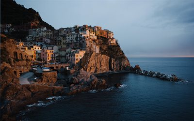 Cinque Terre, sunset, evening, Mediterranean sea, seascape, Italy, beautiful city