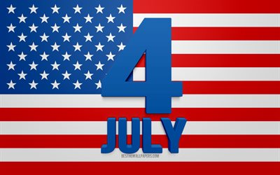 4th of July, Independence Day, July 4, United States, 3d art, american flag, USA, Fourth of July, greeting card