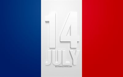 14 July, Bastille Day, national day of France, French flag, France, 3d letters, 14 July greeting card