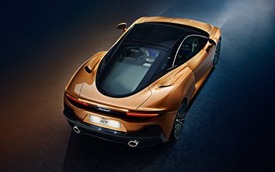 2020, McLaren GT, rear view, bronze supercar, British sports cars, McLaren