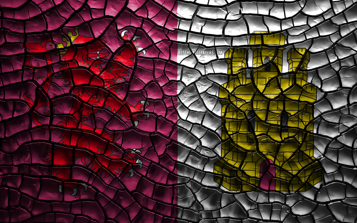 Flag of Caceres, 4k, spanish provinces, cracked soil, Spain, Caceres flag, 3D art, Caceres, Provinces of Spain, administrative districts, Caceres 3D flag, Europe