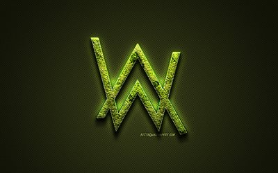 Alan Walker logo, green creative logo, Norwegian DJ, floral art logo, Alan Walker emblem, green carbon fiber texture, Alan Walker, creative art