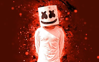 Marshmello, 4k, orange neon, american DJ, fan art, Christopher Comstock, Marshmello 4K, artwork, superstars, creative, DJ Marshmello, DJs