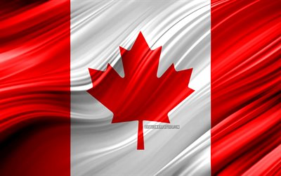 4k, Canadian flag, North American countries, 3D waves, Flag of Canada, national symbols, Canada 3D flag, art, North America, Canada