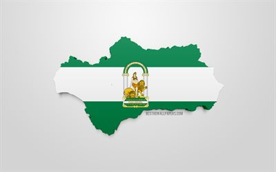 3d flag of Andalusia, map silhouette of Andalusia, autonomous community, 3d art, Andalusia 3d flag, Spain, Europe, Andalusia, geography, Andalusia 3d silhouette