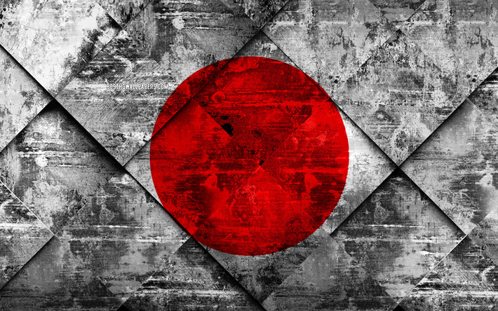 Flag of Japan, 4k, grunge art, rhombus grunge texture, Japanese flag, Asia, national symbols, Japan, creative art