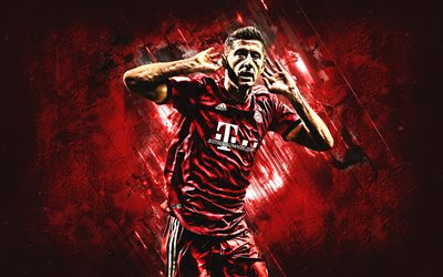Robert Lewandowski, Bayern Munich FC, Polish football player, striker, Bundesliga, red stone background, football, Germany