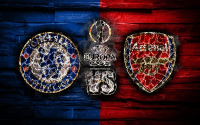 Chelsea vs Arsenal, 4k, 2019 UEFA Europa League Final, 29 May 2019, burning logo, Chelsea FC, Arsenal FC, fan art, UEFA Europa League, Final, UEFA, creative, Chelsea FC vs Arsenal FC