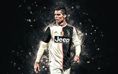 Cristiano Ronaldo, 2019, new uniform, Juventus FC, portuguese footballers, Italy, CR7 Juve, goal, Bianconeri, football stars, Serie A, neon lights, soccer, CR7
