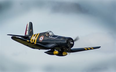 Chance Vought F4U Corsair, fighter, World War II aircraft, WW2, F4U Corsair, military aircraft, F4U-7, carrier-based fighter