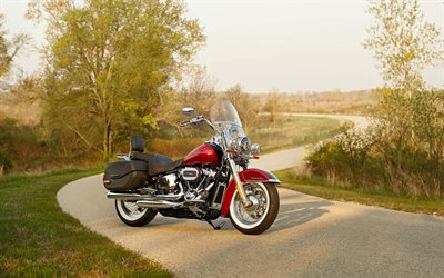 2020, Harley-Davidson Softail Deluxe, cruiser, Milwaukee-Eight 107 Engine, red motorcycle, american motorcycles, new red Softail Deluxe, Harley-Davidson