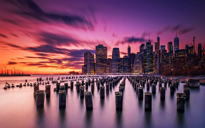Download Wallpapers New York Old Pier Sunset American Cities Nyc Usa America New York In Evening For Desktop Free Pictures For Desktop Free