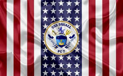 USS Squall Emblem, PC-7, American Flag, US Navy, USA, USS Squall Badge, US warship, Emblem of the USS Squall