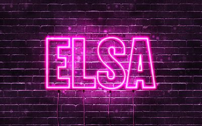 elsa, 4k, tapeten, die mit namen, weibliche namen, elsa-name, purple neon lights, happy birthday elsa, bild mit elsa namen