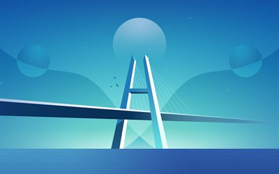 4k, abstract nightscapes, bridge, sea, metropolis, nightscapes minimalism, creative, abstract landscapes