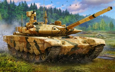 T-90, artwork, desert camouflage, Russian MBT, tanks, Russian Army, sand camouflage, T-90 Vladimir, armored vehicles