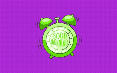 Good Morning, green alarm clock, 4k, violet dotted backgrounds, good morning wish, creative, good morning concepts, minimalism, good morning with clock