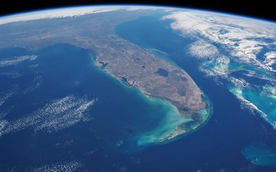 Florida from space, american state, Florida, USA, view from space, Florida peninsula from space