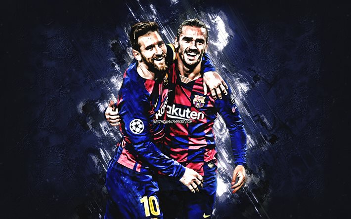 Lionel Messi, Antoine Griezmann, FC Barcelona, football players, blue stone background, Champions League, La Liga, Spain, football, world football stars, Leo Messi