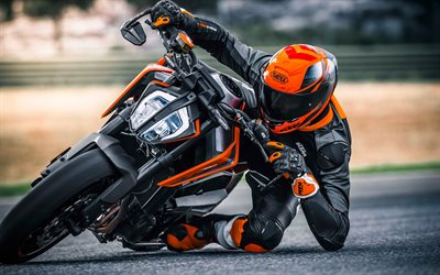 KTM 790 Duke, 2018, 4k, sports bike, racing track, motorcycle racer, motorcycle riding, Austrian motorcycles, KTM