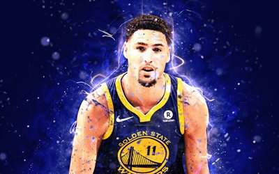4k, Klay Thompson, de l'art abstrait, stars du basket-ball, NBA, les Golden State Warriors, Thompson, basket-ball, créatif