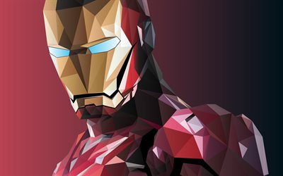 iron man low-poly -, superhelden -, mosaik -, dc comics, ironman